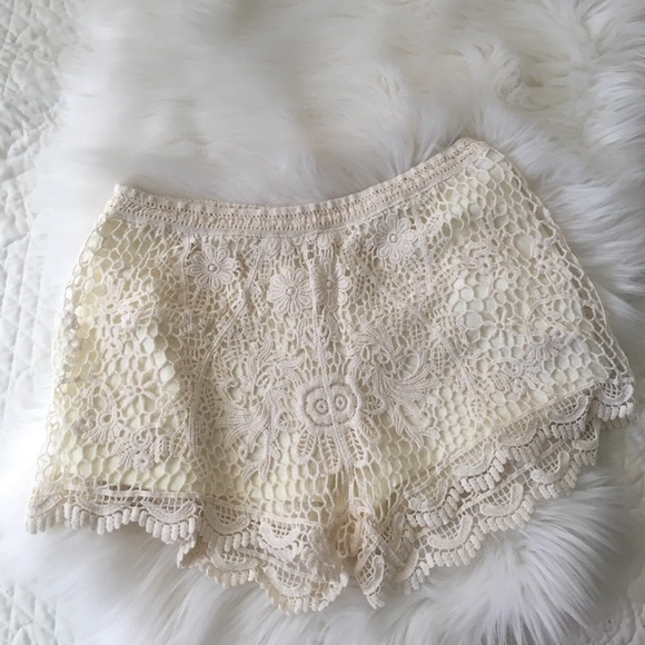 Cream crochet lace high waisted shorts boho